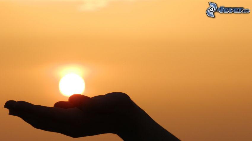 Sonne, Hand, Silhouette