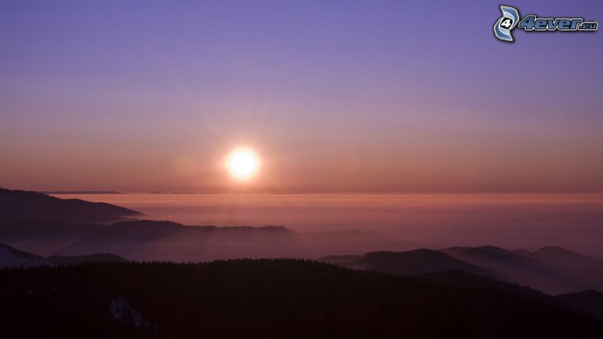 Sonnenaufgang, Inversionswetterlage, Landschaft, Hügel