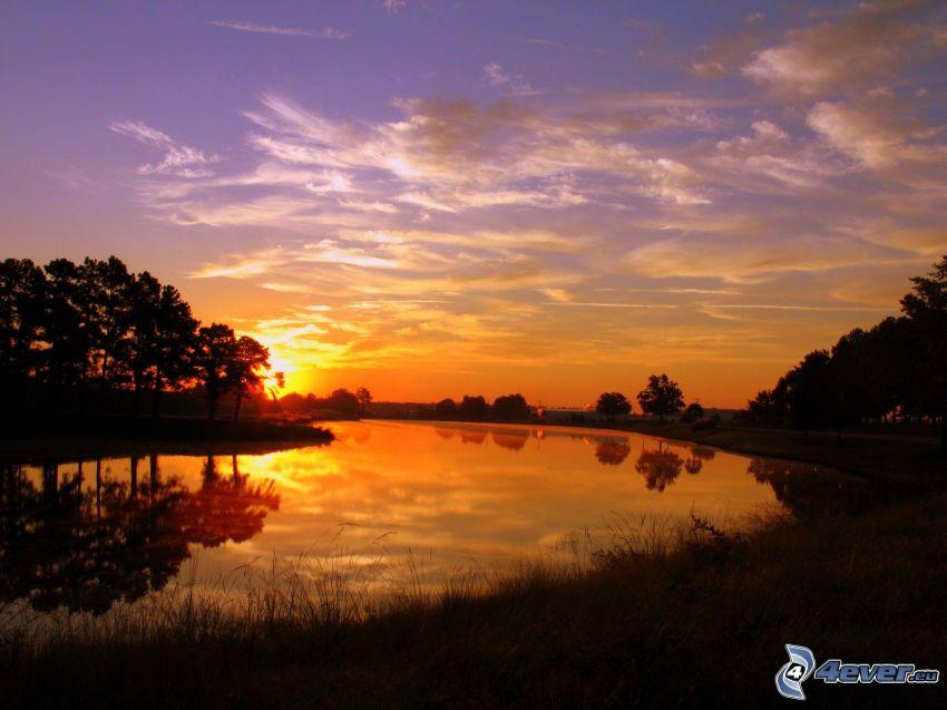 Sonnenuntergang über dem Fluss, Bäum Silhouetten, Abendhimmel