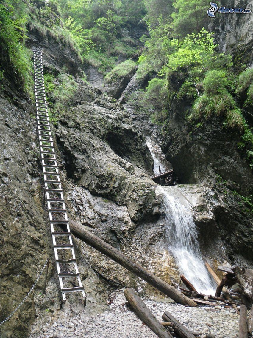 Suchá Belá, Slowakisches Paradies, Leiter, Wasserfall