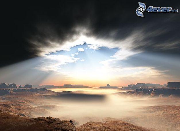 Tal, Himmel, Wolken, Glut