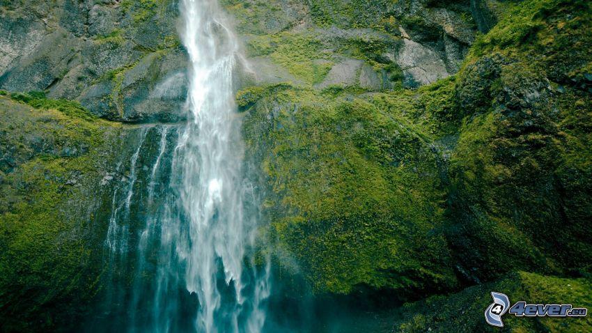 Wasserfall, Felsen, Moos