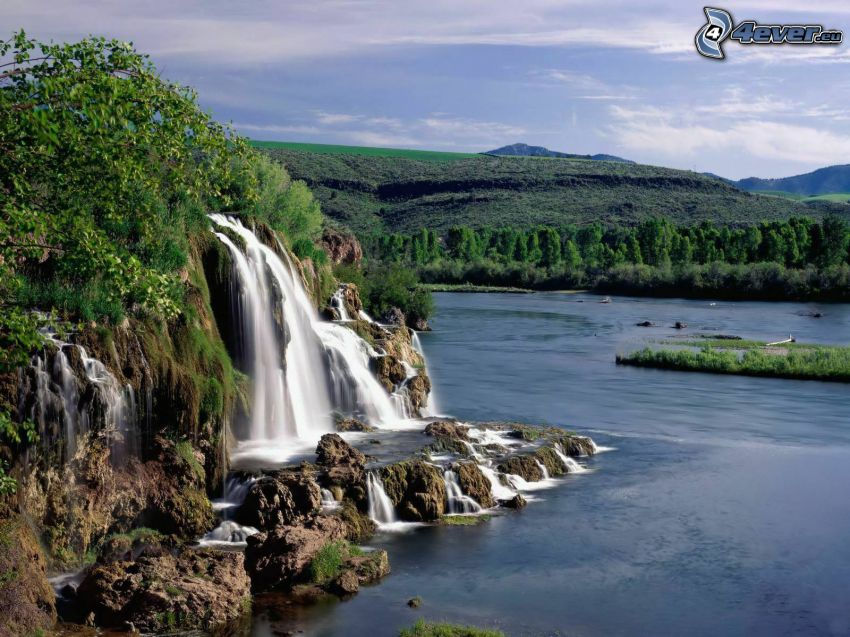 Wasserfall, See, Wald