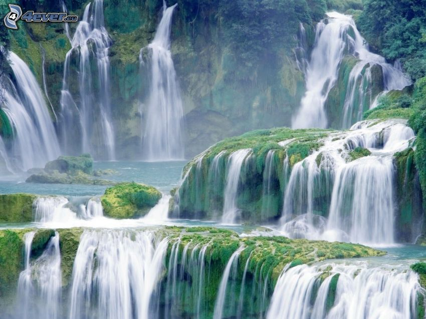 Wasserfälle, Grün