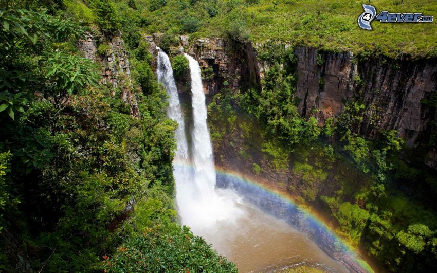 Wasserfälle, Klippe, Felsen, Grün, Regenbogen