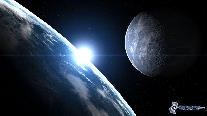 Erde, Mond, Sonnenaufgang