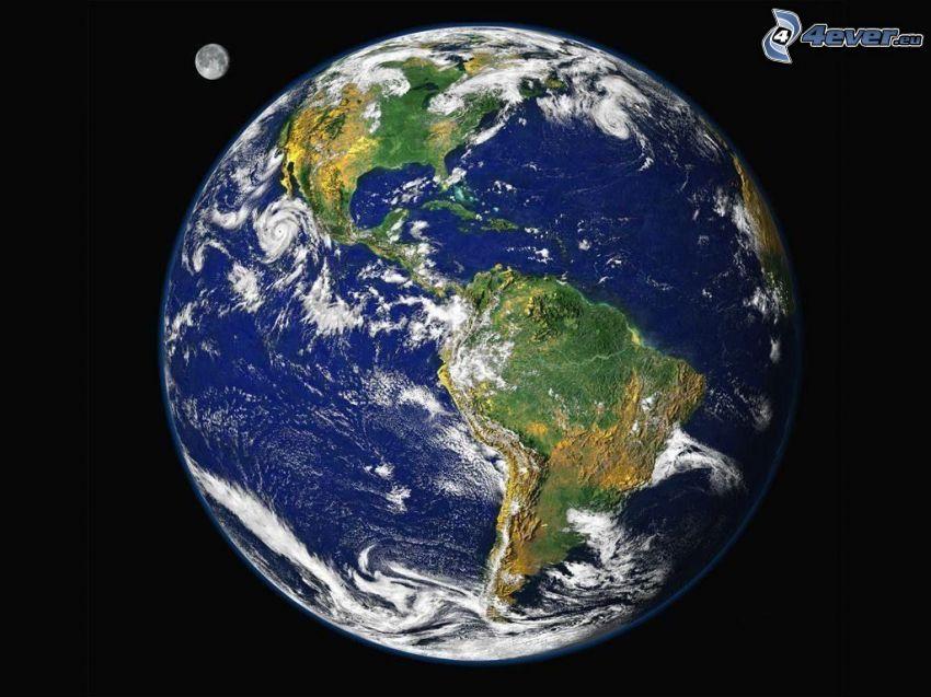 Erde und Mond, Planet, Amerika