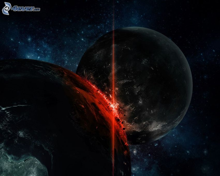 kosmischer Zusammenstoß, Planeten, Funkenbildung, Sternenhimmel