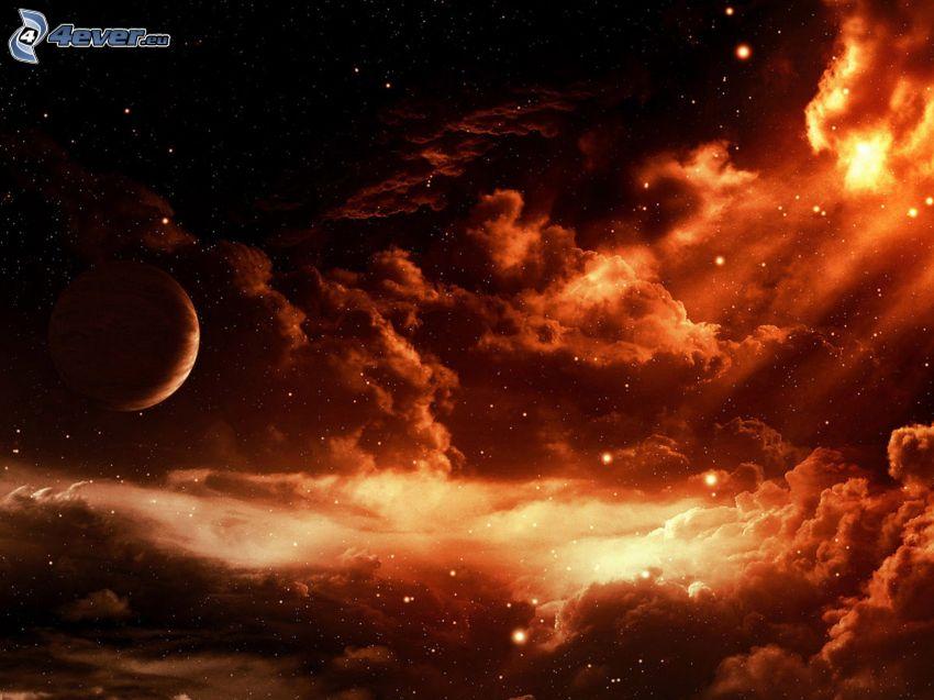 Nebel, Planet, Sterne