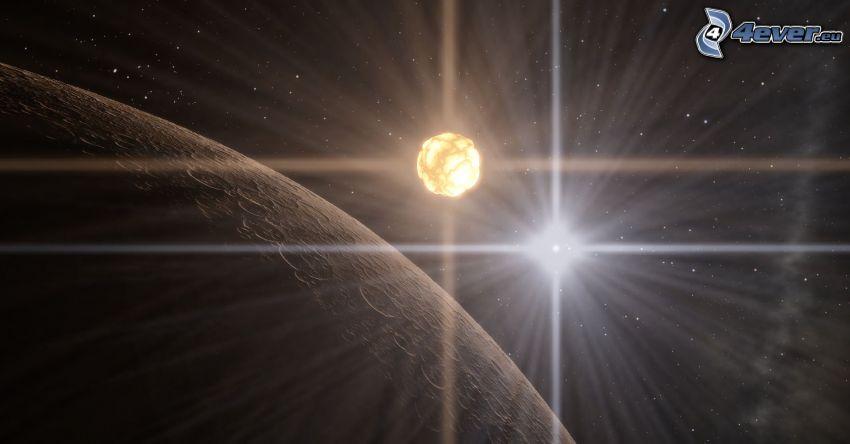 Planet, kosmische Explosion, Sterne