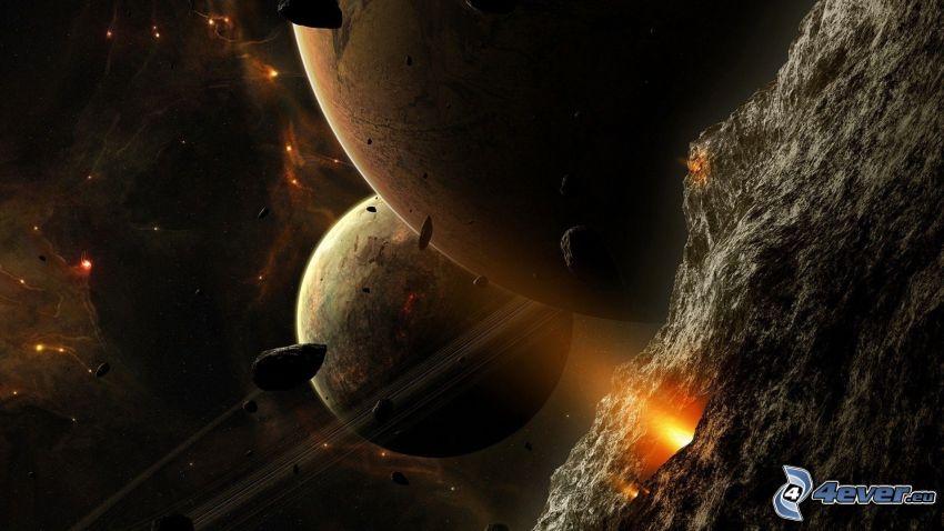 Planeten, Asteroiden, Nebelfleck