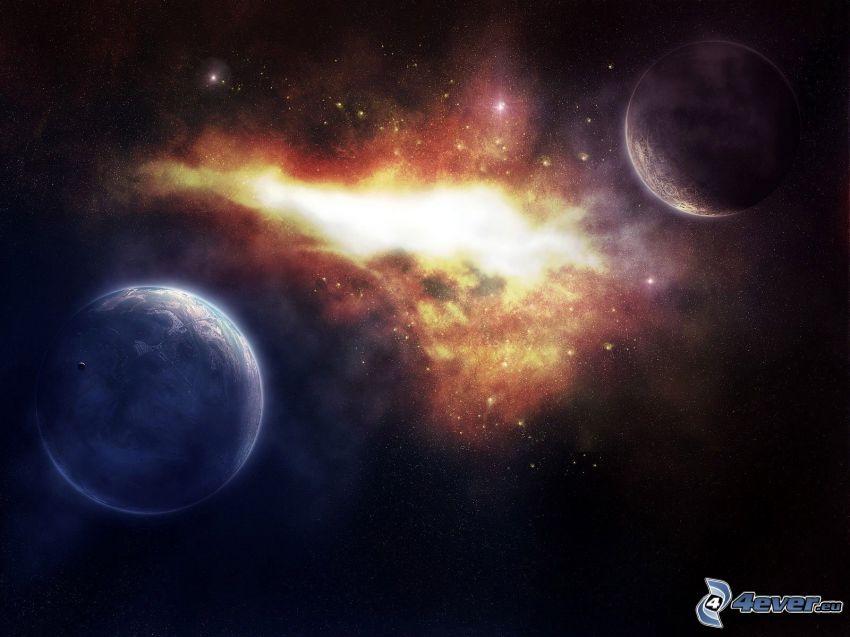 Planeten, Nebelfleck, Sterne