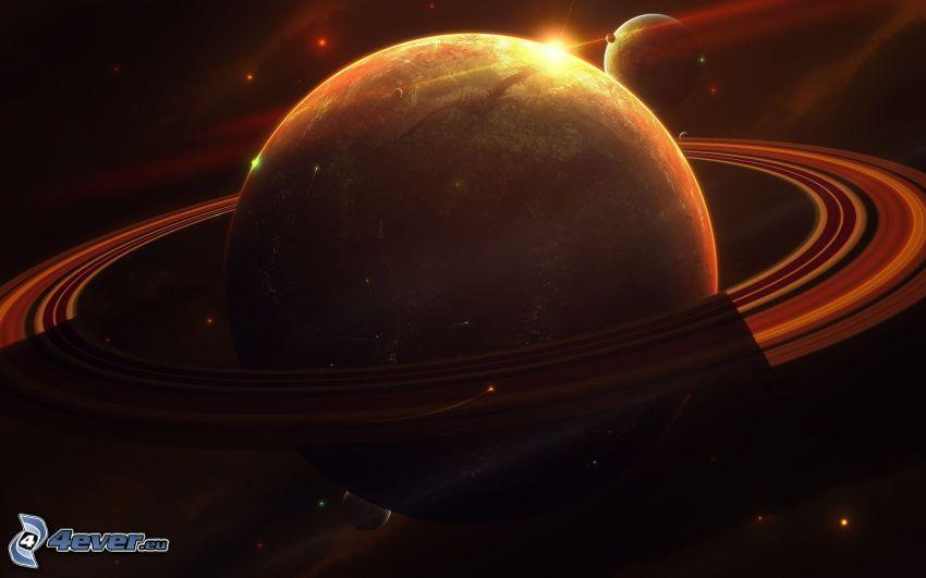 Saturn, Planet, Sonne, Sterne