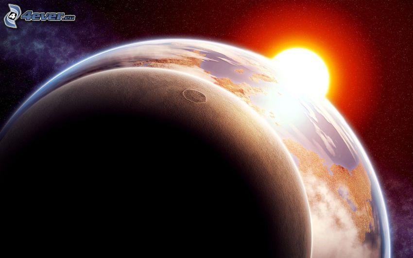 Sonne hinter der Erde, Finsternis, Mond