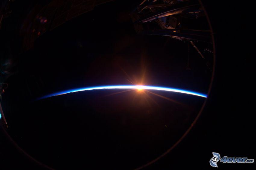 Sonnenuntergang, Planet Erde, Atmosphäre, Internationale Raumstation ISS