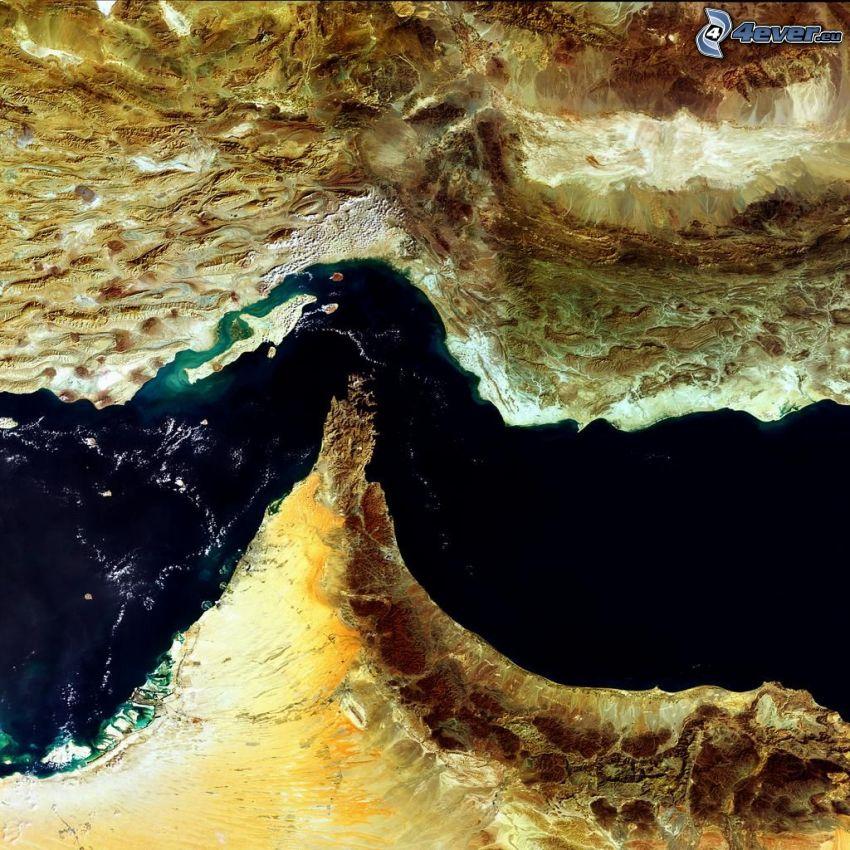 Straße von Hormus, Persischer Golf, Satellitenbild, Meer, Iran, Vereinigte Arabische Emirate, Dubai