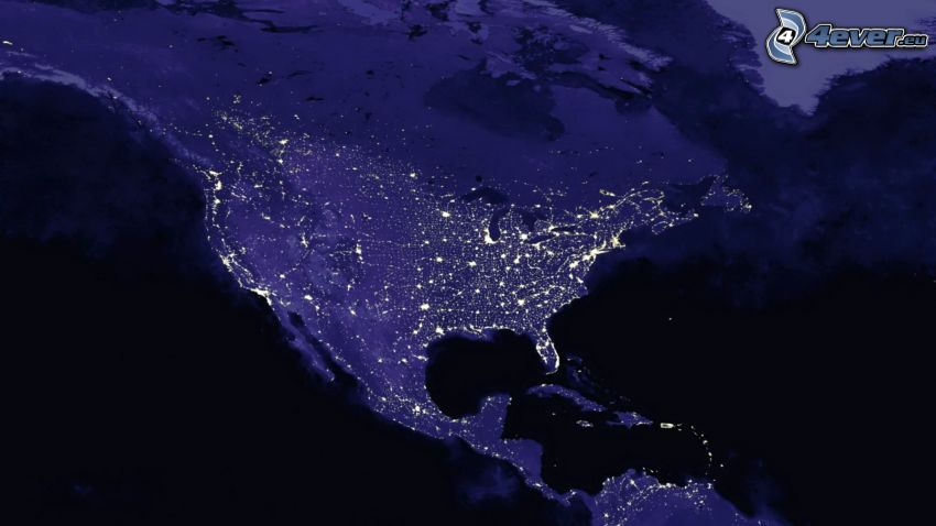 USA, Satellitenbild, Nacht, Erde