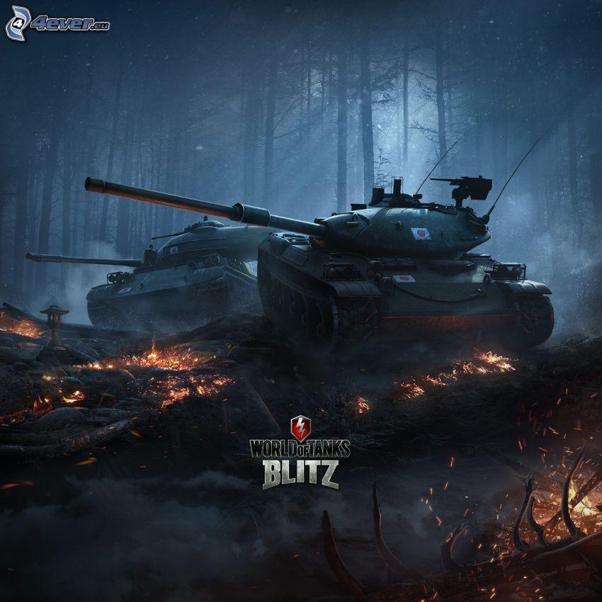 World of Tanks, Panzer, dunkler Wald, brennendes Holz