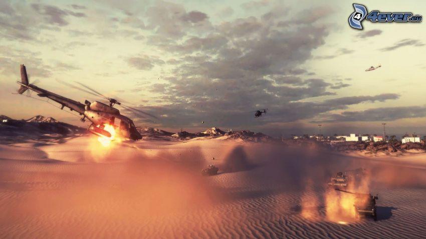 Battlefield 3, militärischer Hubschrauber, Panzer, Wüste