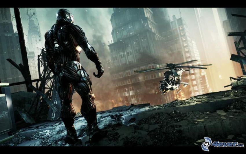 Crysis 2, militärischer Hubschrauber, postapokalyptische Stadt