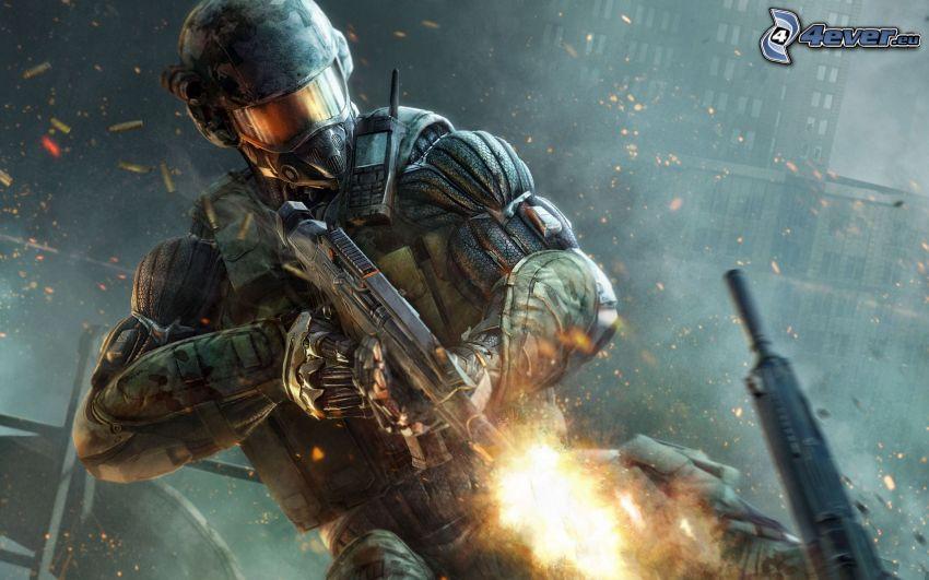 Crysis 2, Soldat mit einem Gewehr, Sci-Fi-Soldat, Schießen