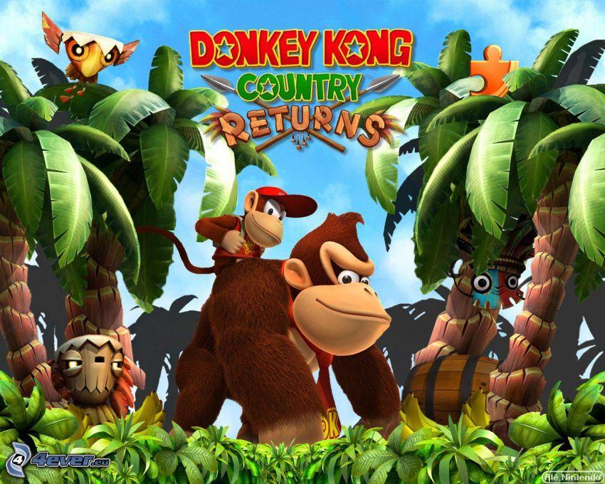 Donkey Kong Country Returns, Gorilla, Palmen