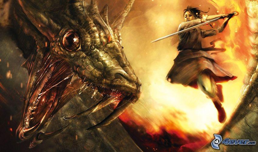 Dragon Age, cartoon Drachen, Frau mit einer Waffe