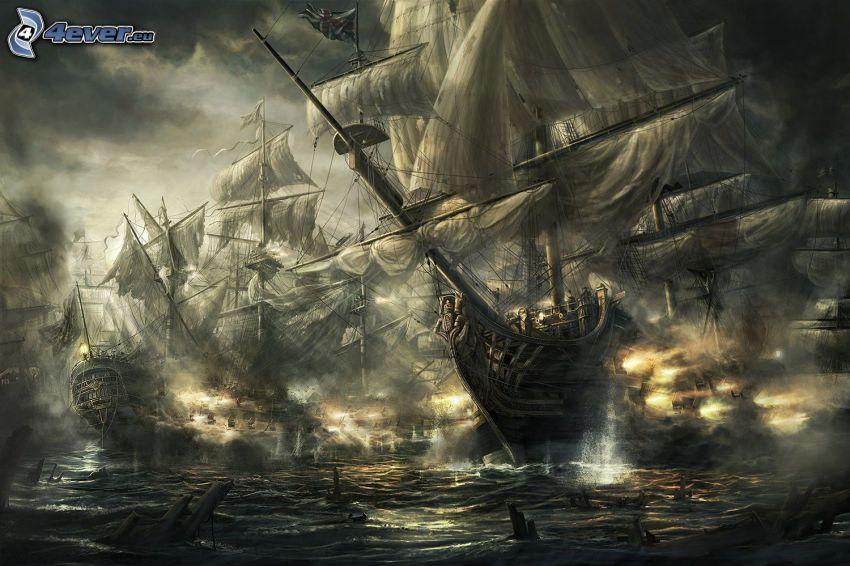 Empire: Total War, Schiffen, Krieg, Segelboote