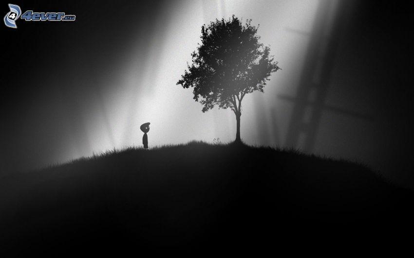 Limbo, Silhouette eines Jungen, Silhouette des Baumes