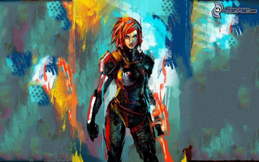 Mass Effect 2, gezeichnete Frau, Kämpferin