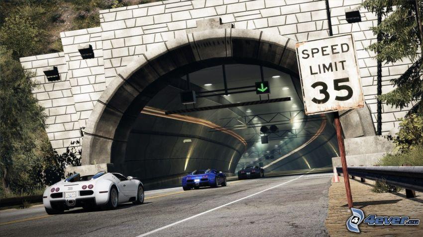 Need For Speed, Tunnel, Verkehrszeichen