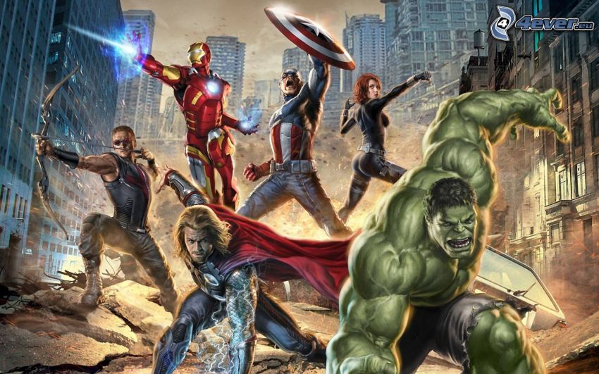 The Avengers, Thor, Iron Man, Captain America, Hulk