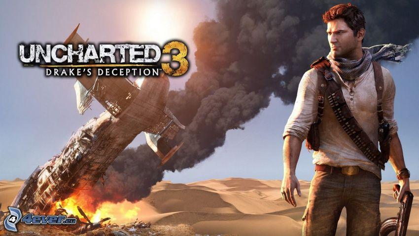 Uncharted 3, Unfall, Mann mit einem Gewehr