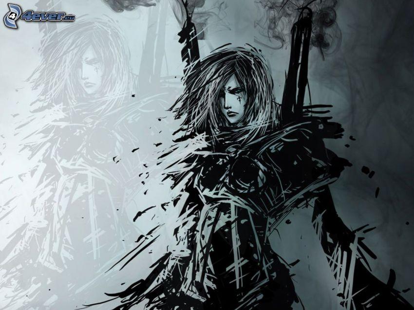 Warhammer, gezeichnete Frau