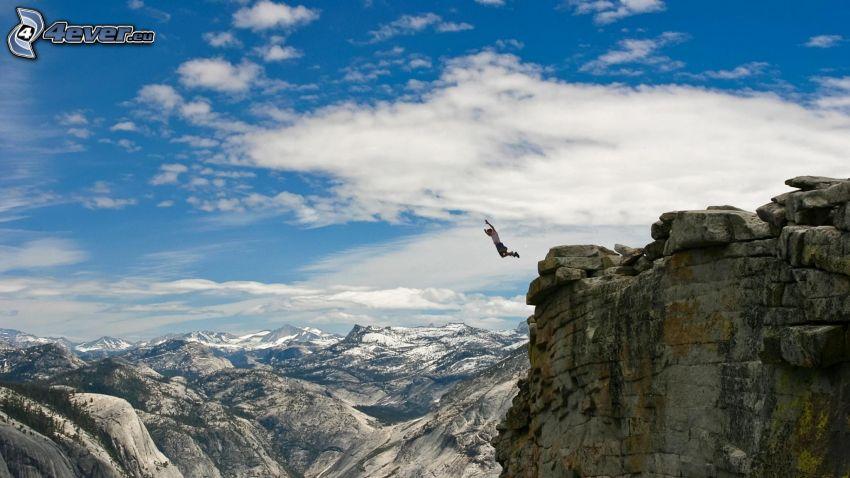 BASE Jump, Adrenalin, Fliegen, Felsen, schneebedeckte Berge