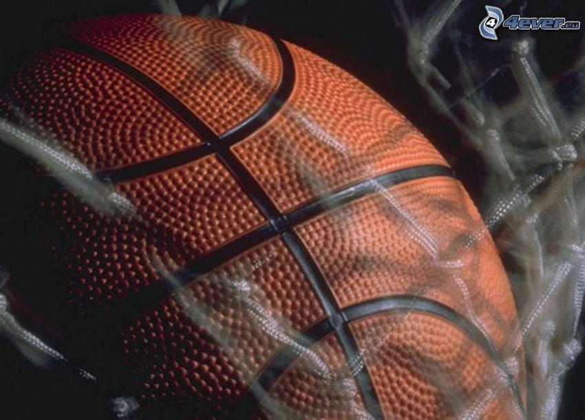 basketball-Ball, Netzwerk