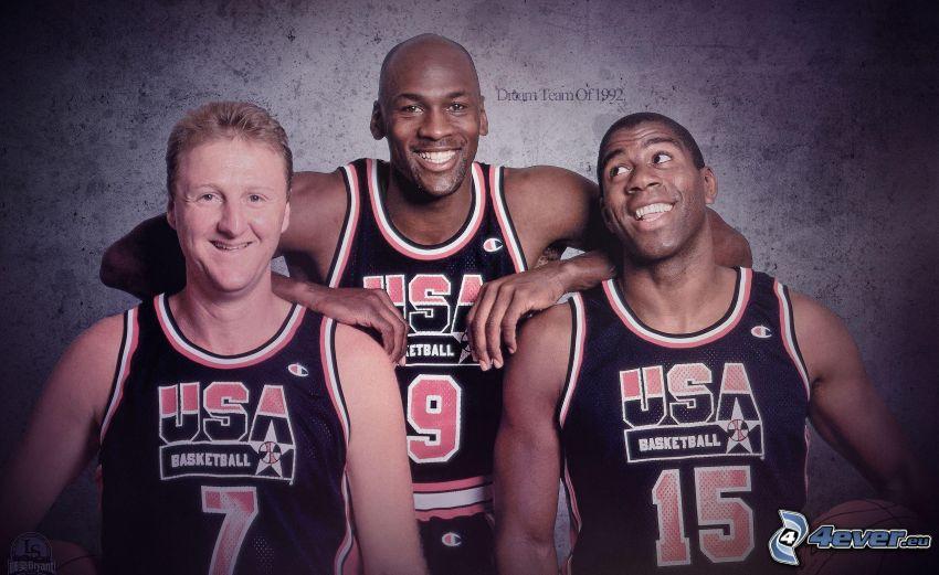 Basketball-Spieler, Larry Bird, Michael Jordan, Magic Johnson