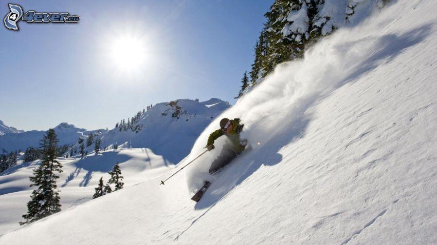 Extrem-Skifahren, verschneite Landschaft