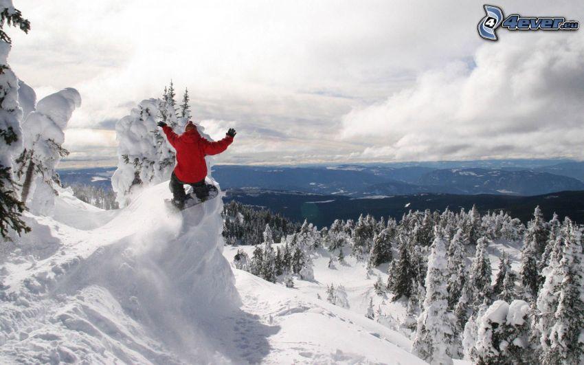 extreme Snowboarding, verschneite Landschaft