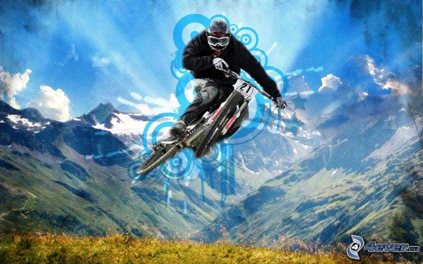 extremer Biker, Sprung auf dem Fahrrad, Berge