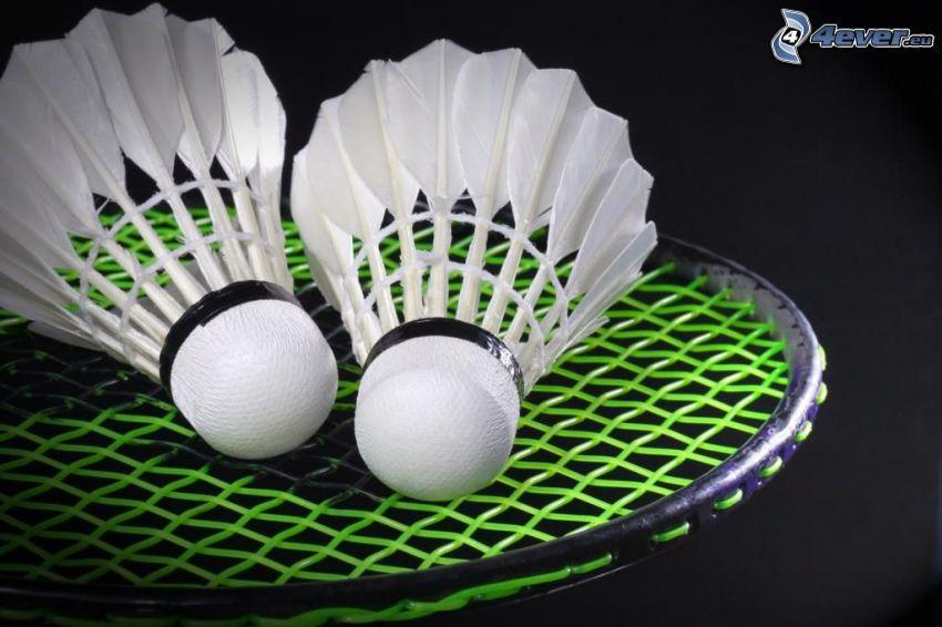 Federbälle, badminton-Schläger