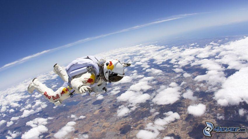 Felix Baumgartner, Freifall, Fliegen, Wolken