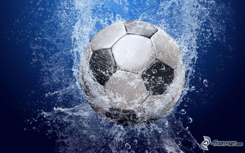 fußballerischer Ball im Wasser
