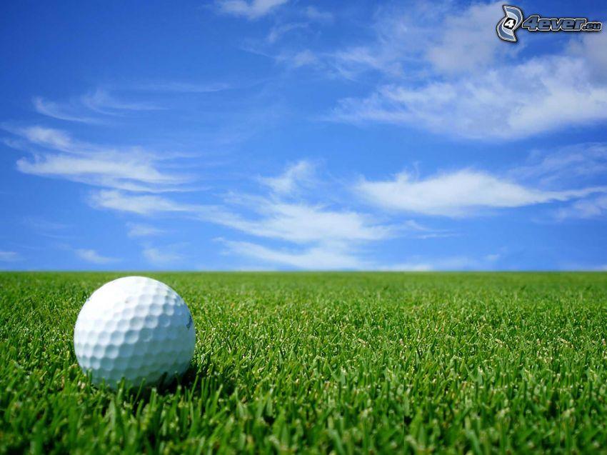 Golfball, Rasen, blauer Himmel