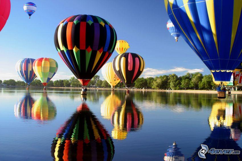 Heißluftballon, Fluss, Spiegelung