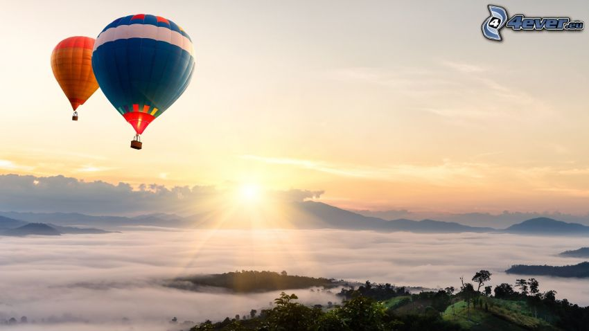Heißluftballons, Sonnenaufgang, Inversionswetterlage