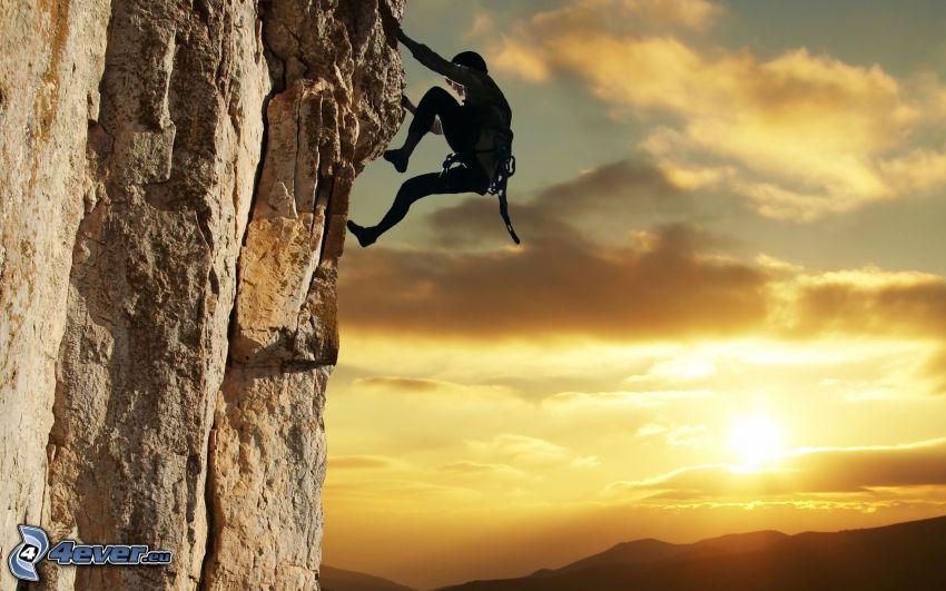 Kletterer, Sonnenuntergang