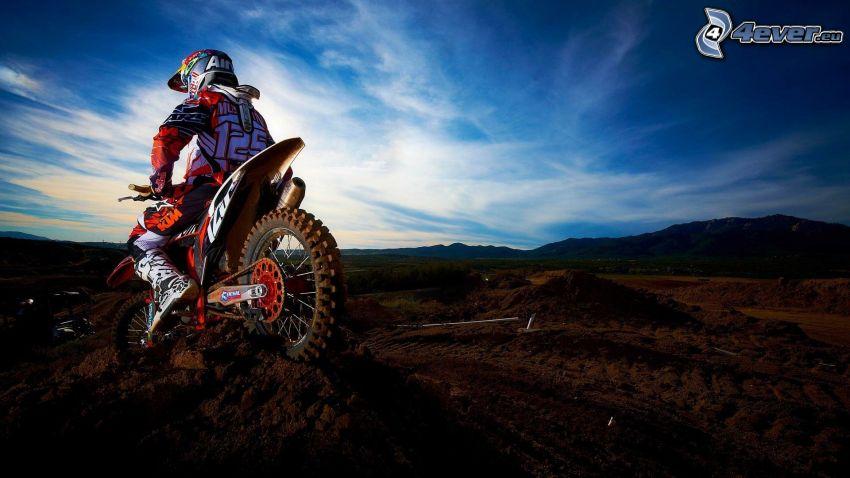 motocross, Himmel, Berge