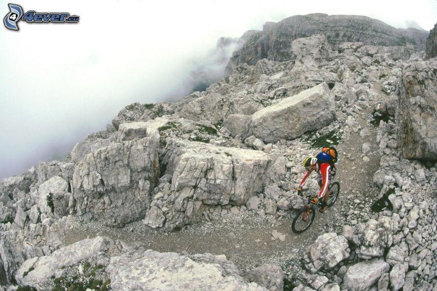mountainbiking, Radfahren, Felsen