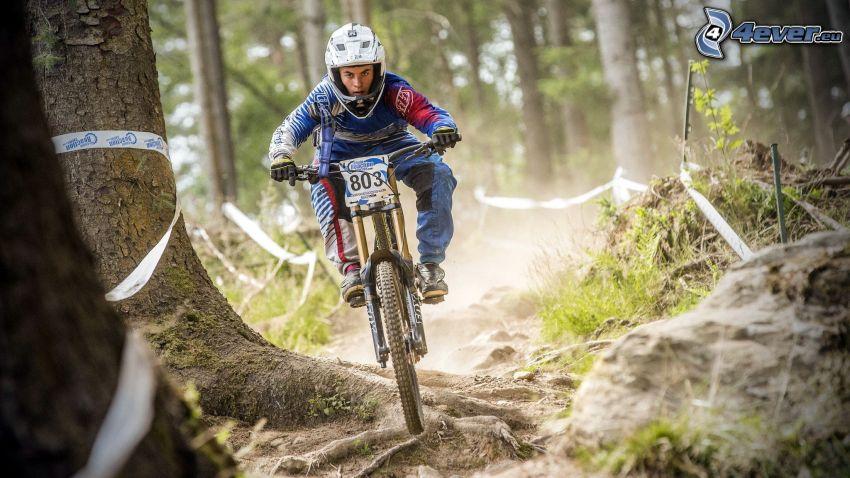 MTB Downhill, Radfahrer, Rennen